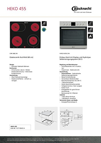 bauknecht heko 455 backofen kochfeld kombination einbau. Black Bedroom Furniture Sets. Home Design Ideas
